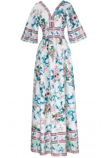V-Neck Bohemian Floral Long Dress