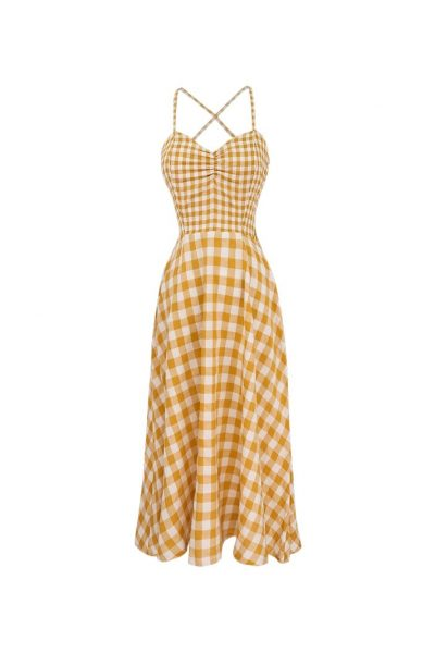 Backless Plaid Yellow Dress