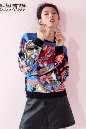 Dragon Print Blue Sweater