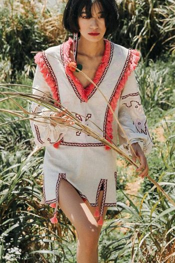 Ethnic Style Embroidered Short Dress