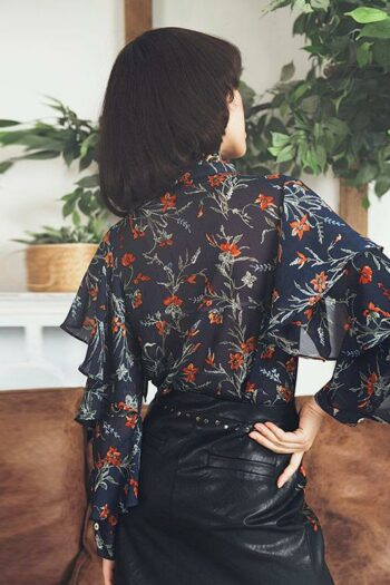 Bow Tie Floral Ruffle Shirt