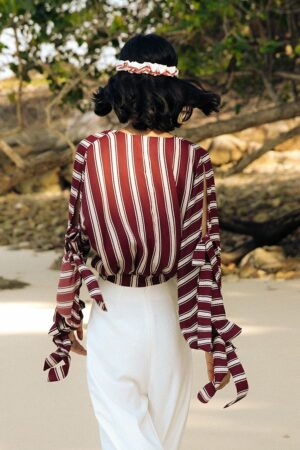 V-Neck Striped Beach Top