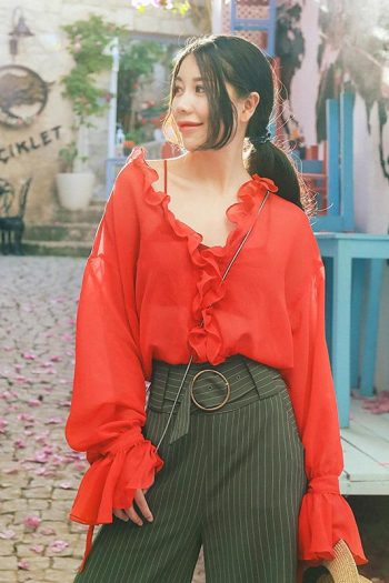 V-Neck Ruffle Red Shirt