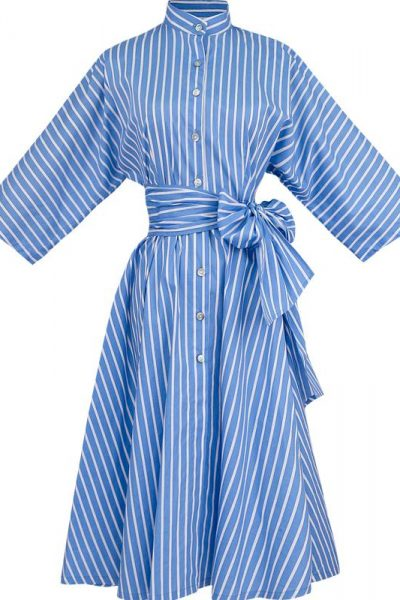Striped Blue Shirt Dress