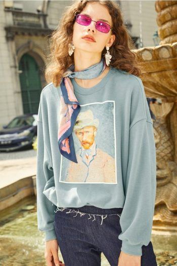 Van Gogh Pattern Sweater With Silk Scarf