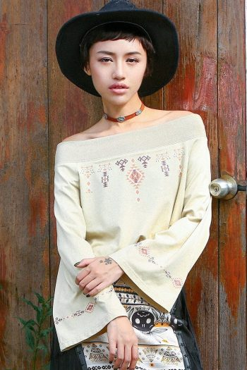 Ethnic Style Long Sleeve T-Shirt