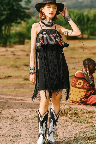 Hippie Style Dress With Tassels