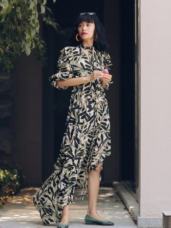 Asymmetrical Leaves Printed Dress