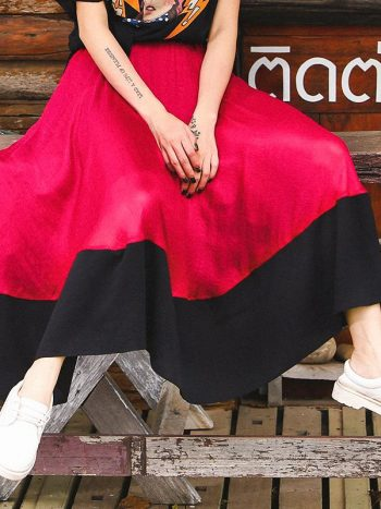 Hit Color Long Skirt
