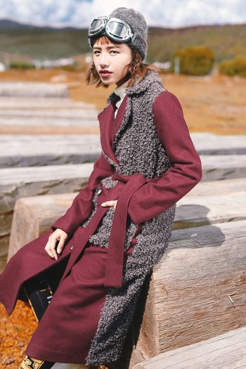 Hit Color Long Woolen Coat