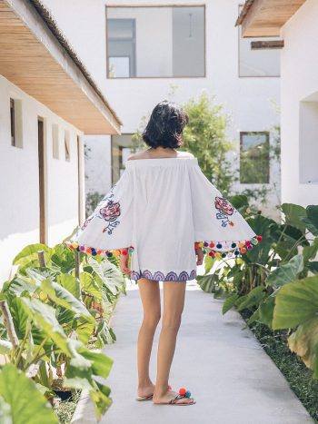 Bohemian White Embroidered Dress