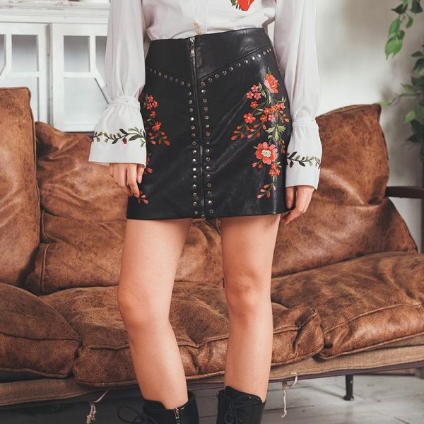 Floral Embroidered Leather Skirt