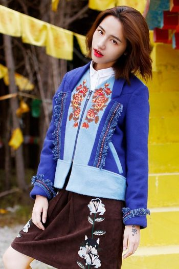 Floral Embroidered Woolen Jacket