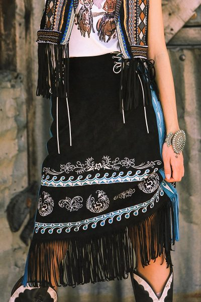 Bohemian Embroidered Black Skirt