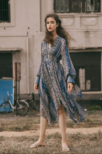 Bohemian Style High Neck Dress