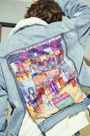British Museum Pattern Denim Jacket
