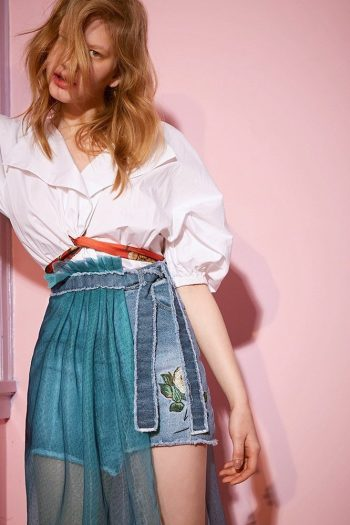 Van Gogh Pattern Two-Piece Denim Skirt
