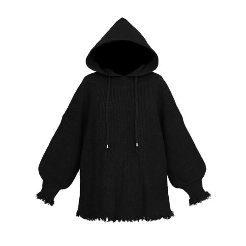 Black Knit Hooded Sweater