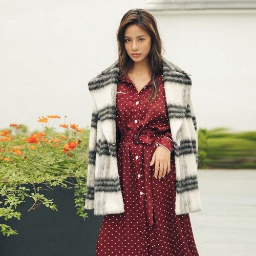 Black And White Striped Woolen Coat