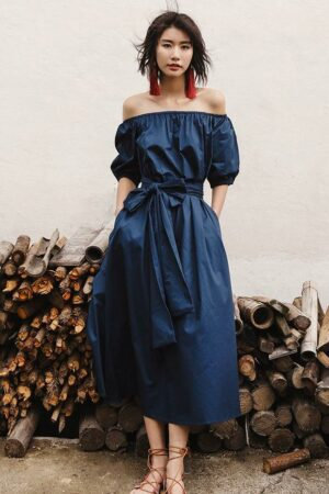 One Shoulder Puff Sleeve Resort Dress