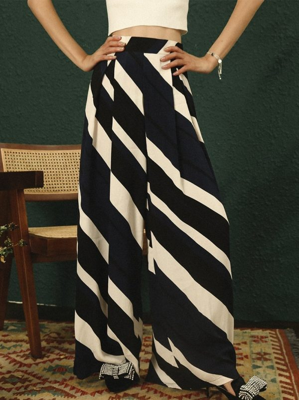 Bohemian Wide Leg Striped Pants