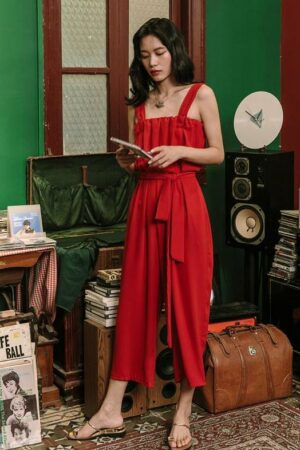 Boho Style Red Wide Leg Jumpsuit