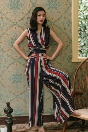 Resort Style Striped Two-Piece Suit
