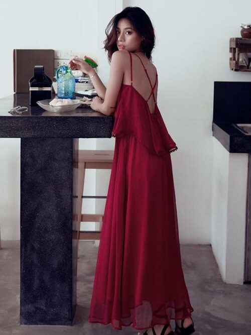 Backless Resort Beach Long Dress