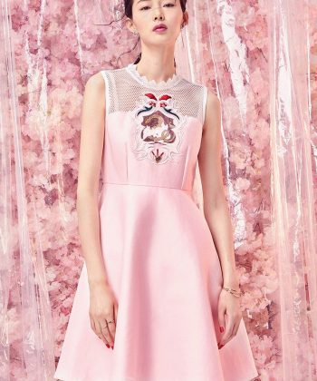 Peach Blossom Embroidered Dress