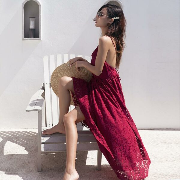 Backless Sexy Lace Wine Red Dress