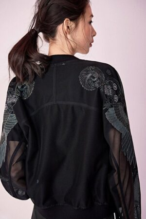 Black Embroidered Baseball Jacket