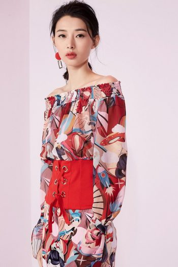 Off Shoulder Fake Two-Piece Top