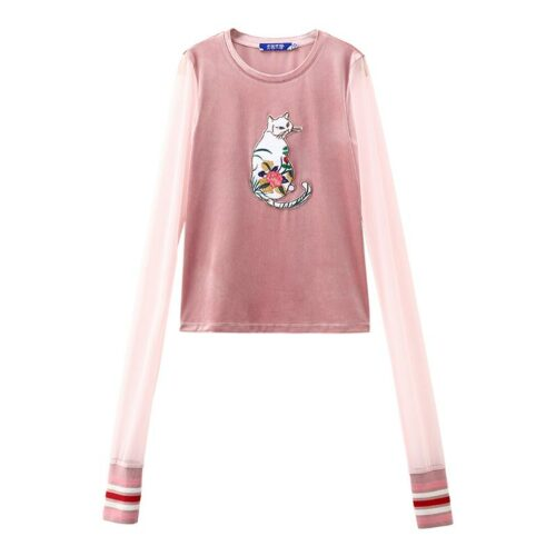 Cat Embroidered Long Sleeve Top