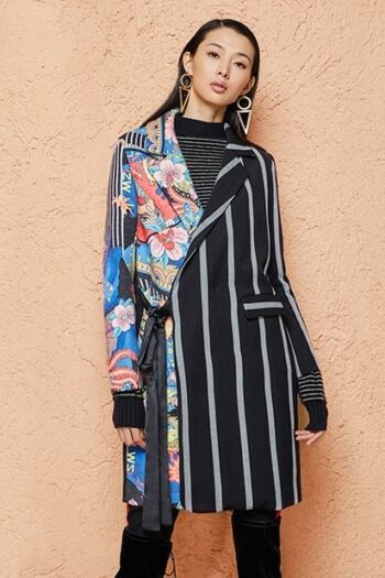 Striped Stitching Coat