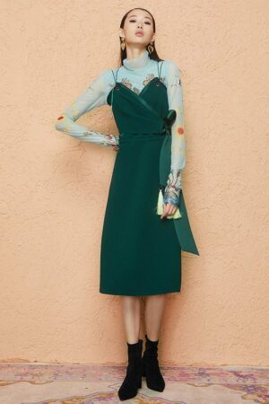 V-Neck Green Strap Dress