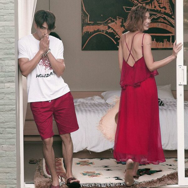 Wine Red Beach Dress & Beach Male Set