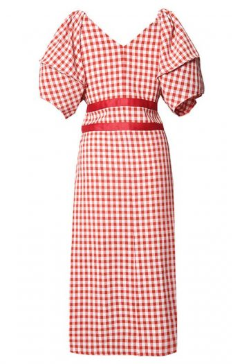 Retro Style Puff Sleeve Plaid Dress