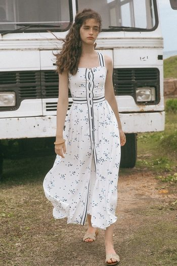 Resort Style White Flowy Dress