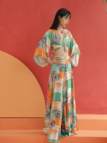Tropical Printed Wide Leg Pants Set