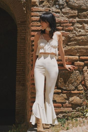 Resort Style White Flare Pants Suit