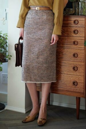 Retro Style Woolen Tweed Skirt