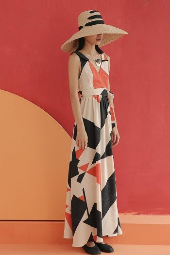 Geometric Printed Vacation Maxi Dress