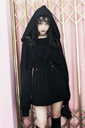 Black Hooded Sweater Dress