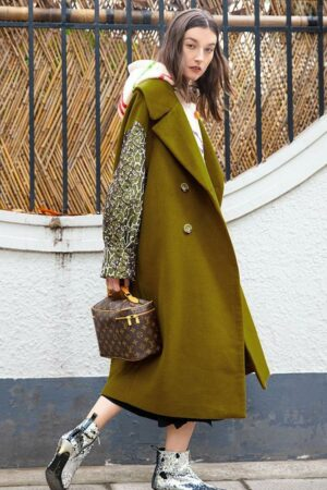 Olive Stitching Wool Coat