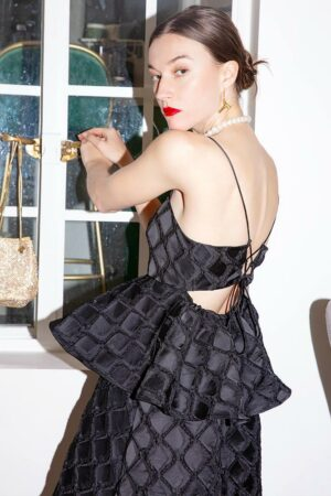 Off Shoulder Black Evening Dress