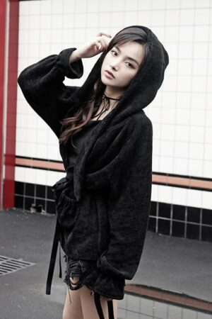Japanese Style Black Hooded Jacket