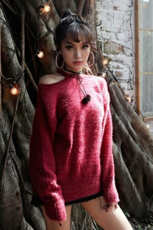Wine Red Woolen Sweater