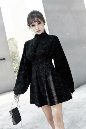 Black Plaid Long Sleeve Dress