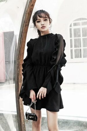 Ruffle Sleeve Black Elegant Dress