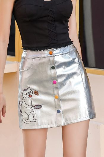 Cat Embroidered Silver Mini Skirt